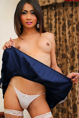 Ladyboy Boom in schoolgirl uniform  - amazing body and a gorgeous tits.