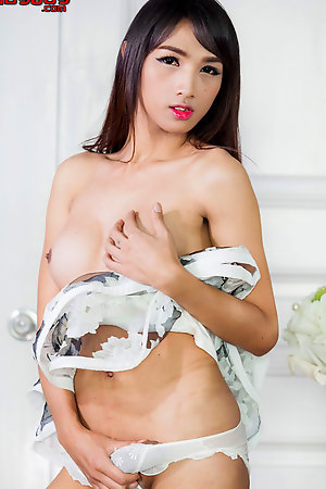 Amazing body ladyboy Cartoon loves playing with her full breasts til her big cock gets totally hard.