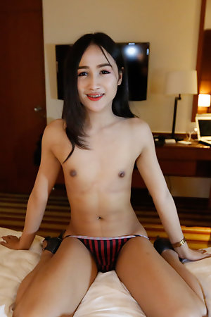 22yo Thai ladyboy gets asshole reamed by white cock