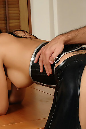 Latex ladyboy loves getting her cock sucked