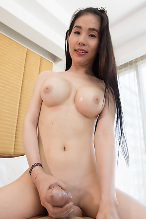 Sexy and Busty ladyboy Sang Polka Dot Bra and Panties Bareback